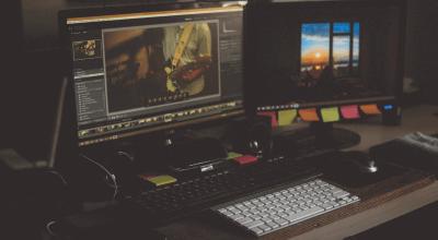 Article Thumbnail - 2 computers video editing